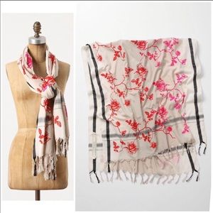 Anthropologie Leigh and Luca flocked rose wrap